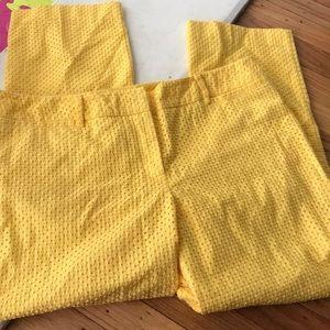 Yellow eyelet crop pants